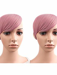 cheap -2 pcs 7 inch/18cm fashion clip in oblique bang cosplay party hair extensions hair accessorie (pink)