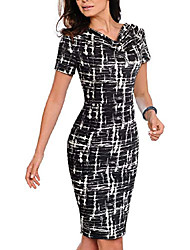 cheap -womens cowl neck printed wear to work party dresses - black - 16