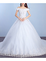 cheap -Princess Ball Gown Wedding Dresses Off Shoulder Court Train Lace Tulle Short Sleeve Formal Sparkle & Shine with Appliques 2021