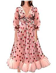 cheap -women's lace-up sexy deep v-neck strawberry print sweet mesh yarn pleated dress back zipper long skirt