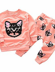 cheap -tronet kids baby girls set clothes cats print tracksuit long sleeve tops and pants (18-24 months, pink)