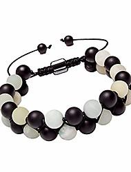 cheap -matte black onyx bracelet for women men healing energy 8mm amazonite stone beads adjustable woven bracelet(onyx,amazonite)