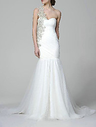 cheap -Mermaid / Trumpet Wedding Dresses One Shoulder Sweep / Brush Train Chiffon Sleeveless Simple Luxurious with Appliques Side-Draped 2021