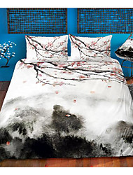 cheap -ink painting 3-piece duvet cover set hotel bedding sets comforter cover with soft lightweight microfiber, include 1 duvet cover, 2 pillowcases for double/queen/king(1 pillowcase for twin/single)