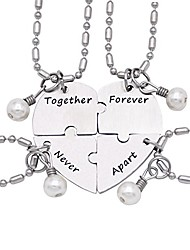 cheap -together forever never apart four piece puzzle heart necklace set stainless steel pearl charm
