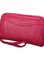 cheap -Women's Bags Cowhide Wallet Zipper Print Plain 2021 Daily Date Watermelon Red Black Purple Red