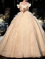 cheap -Princess Ball Gown Wedding Dresses Off Shoulder Chapel Train Lace Tulle Short Sleeve Formal Romantic Luxurious Sparkle & Shine with Pleats Beading Ruffles 2021