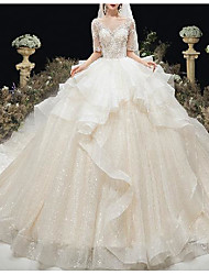 cheap -Princess Ball Gown Wedding Dresses Bateau Neck Chapel Train Lace Tulle Sequined Half Sleeve Formal Luxurious Sparkle & Shine with Appliques Cascading Ruffles 2021