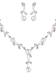 cheap -cz crystal cream simulated pearl floral vine filigree necklace earrings set clear silver-tone