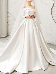 cheap -Princess Ball Gown Wedding Dresses Off Shoulder Court Train Detachable Satin Long Sleeve Formal Simple with Pleats 2021