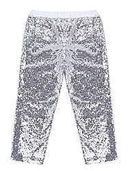 cheap -girls sparkle sequins long pants leggings kids shiny clothes for fancy party or dancing silver 12 months