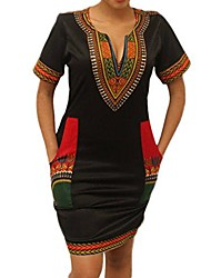 cheap -women traditional african print short sleeve v neck bodycon wide dashiki ethnic printed tunic dress summer dresses party (3xl (46), black)