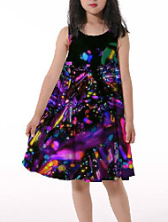 cheap -Kids Little Girls' Dress Graphic Print Rainbow Asymmetrical Sleeveless 3D Print Cute Dresses Loose