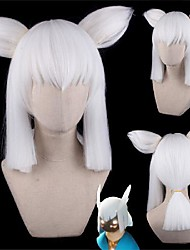 cheap -Cosplay Wig Straight With Bangs Wig Long A15 A16 A17 A18 A19 Synthetic Hair Women's Anime Fashionable Design Cosplay White