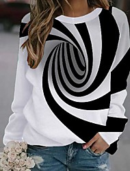 cheap -Women's Pullover Sweatshirt Optical Illusion Print Party Daily 3D Print Party Hoodies Sweatshirts  Loose White
