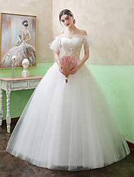 cheap -Princess Ball Gown Wedding Dresses Spaghetti Strap Floor Length Lace Tulle Short Sleeve Romantic with Ruffles Appliques 2021