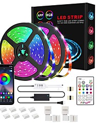 cheap -1x5M 2x5M 3x5M Light Sets RGB Strip Lights Smart Lights 150 300 450 600 LEDs SMD5050 10mm 1 12V 6A Adapter 1Set Mounting Bracket 1 x 10A power adapter 1 set RGB Christmas New Year's Waterproof APP