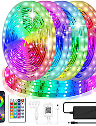 cheap -smart bluetooth led strip lights waterproof 5050 20m 10mm rgb led strip lights kits with 24 keys remote app control timer schedule led music strip lights color changing sync led lights for bedroom