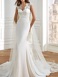 cheap -Mermaid / Trumpet Wedding Dresses V Neck Court Train Lace Italy Satin Sleeveless Simple Luxurious with 2021