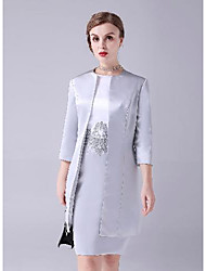 cheap -Sheath / Column Mother of the Bride Dress Elegant Sweet Jewel Neck Knee Length Satin Short Sleeve with Beading Appliques Color Block 2021