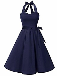 cheap -vintage crew neck sleeveless floral embroidered knee length cocktail dress navy