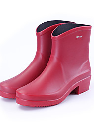 cheap -Women's Boots Chunky Heel Round Toe Booties Ankle Boots Classic Daily PVC Solid Colored Black Red Green / Booties / Ankle Boots