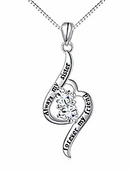 cheap -sterling silver always my sister forever my friend double cz heart sister necklace gift