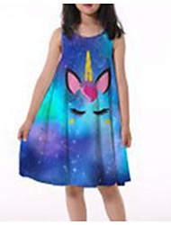 cheap -Kids Girls' Active Cute Cartoon Patchwork Print Sleeveless Knee-length Dress Royal Blue