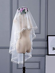 cheap -One-tier Stylish / Basic Wedding Veil Fingertip Veils with Solid 59.06 in (150cm) Tulle