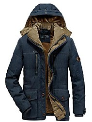 cheap -flygo men's winter warm thicken sherpa lined coat parka jacket with removable hood (xx-large, royal blue)