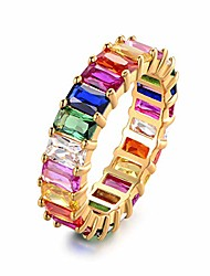cheap -gold filled fashion jewelry rainbow square baguette cz engagement ring for women colorful cubic zirconia cz eternity band ring