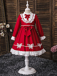 cheap -Kids Toddler Little Girls' Dress Red Halloween Beaded Ruched Lace Trims Red Asymmetrical Long Sleeve Cute Dresses Christmas Regular Fit Slim