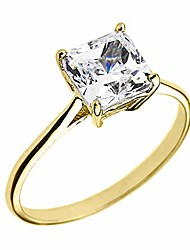 cheap -10k yellow gold cz princess cut solitaire engagement ring (size 10)