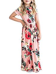 cheap -Kid's Little Girls' Dress Flower / Floral Pink White Green Dresses