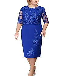 cheap -dress for women lace floral embroidery half sleeve fashion mother of bride dress plus size knee length casual solid charming gown blue