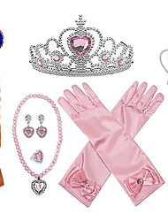 cheap -Princess Halloween Props Holiday Jewelry Girls' Movie Cosplay Accent / Decorative Dance Glove Purple / Blue / Pink Gloves Necklace Gauntlets Christmas Halloween Carnival Plastics / Earring / Tiaras
