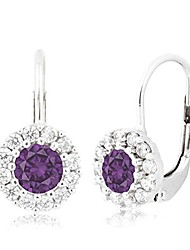 cheap -children's tweens sterling silver purple cz halo february birth month leverback earrings 4mm italy