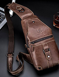 cheap -bullcaptain genuine leather casual chest bag