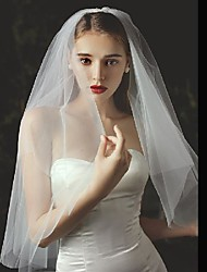 cheap -Two-tier Stylish / Cute Wedding Veil Elbow Veils with Solid Tulle