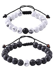 cheap -distance relationship bracelet for couples and lovers black lava rock & white howlite stone 8mm beads (braided)