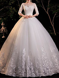 cheap -Princess Ball Gown Wedding Dresses Jewel Neck Floor Length Lace Tulle Half Sleeve Formal Romantic Elegant with Appliques 2021