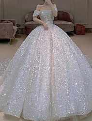 cheap -Princess Ball Gown Wedding Dresses Off Shoulder Watteau Train Tulle Sequined Short Sleeve Formal Luxurious Sparkle & Shine with Pleats 2020