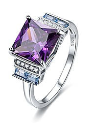 cheap -silver princess cut created amethyst ring for women birthday graduation gifts mothers marriage her