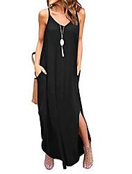 cheap -Women's Strap Dress Maxi long Dress ArmyGreen Dark Gray Royal Blue Black Navy Blue Sleeveless Solid Color Spring Summer Casual / Daily 2021 S M L XL XXL