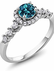cheap -silver round london blue topaz and white created sapphire women's engagement ring 0.97 cttw (size 8)