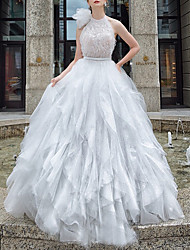 cheap -Princess Ball Gown Wedding Dresses High Neck Floor Length Lace Tulle Sleeveless Country Formal Luxurious Sparkle & Shine with Ruffles Appliques 2021