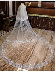 cheap -Three-tier Cute Wedding Veil Cathedral Veils with Embroidery 62.99 in (160cm) Tulle