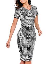 cheap -Women's Sheath Dress Knee Length Dress Red Box Screen Color Houndstooth geometry Dots Black print 1 Black print 2 Sky Blue Short Sleeve Solid Color Summer Casual 2021 S M L XL XXL