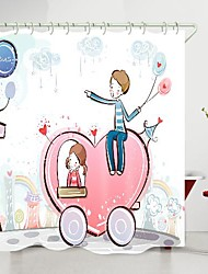 cheap -valentine's day couple love car digital printing shower curtain shower curtains  hooks modern polyester new design