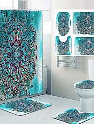 cheap -Bathroom Shower Curtain and Mat Set Mandala Pattern Classic Polyester Material New Design 4pcs